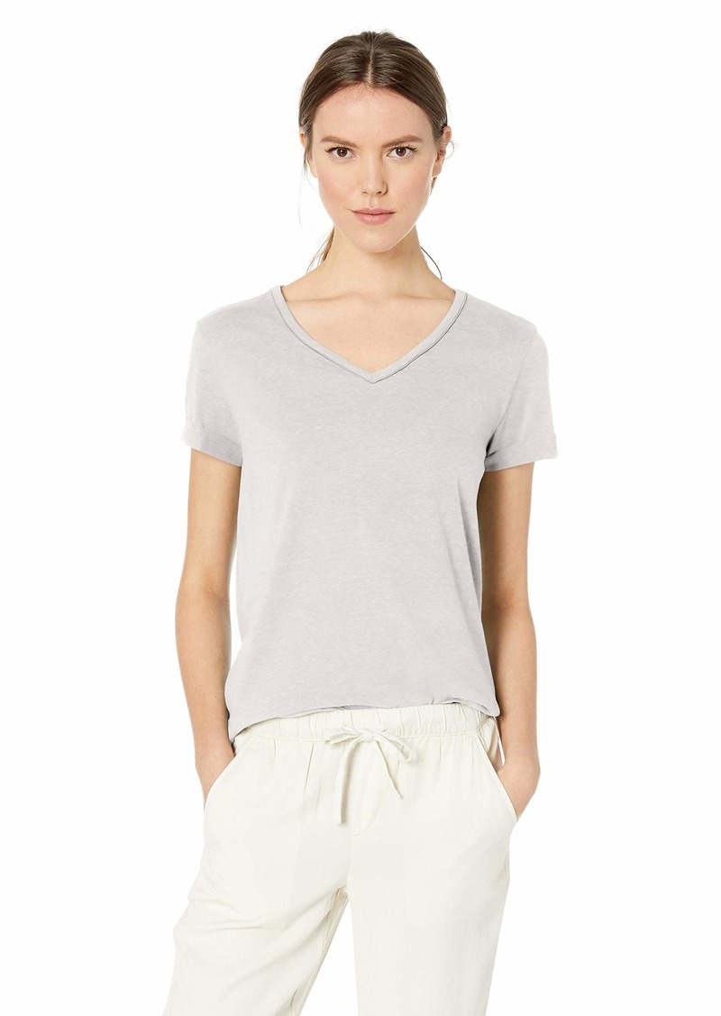 Democracy Women's Short Sleeve V Neck Tee with Chain Detail Off  XL
