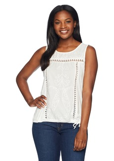 Democracy Women's S/L Emb Dye Cut Knit to Woven Top  M