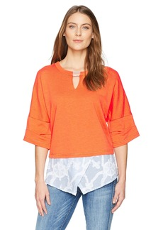 Democracy Women's Slash Neck Top with Tipping  M
