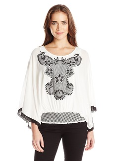 Democracy Women's Smocked Peasant Blouse with Embroidered Detail