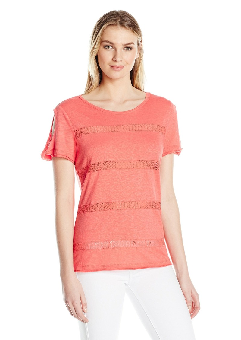 Democracy Women's Split S/s Top W/Back Detail  M