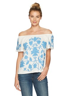 Democracy Women's S/s Side Ruched Top with Neckline DTL  S