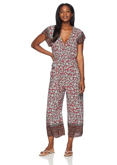 Democracy Women's SS Smocked Neck Jumpsuit W Tie  L