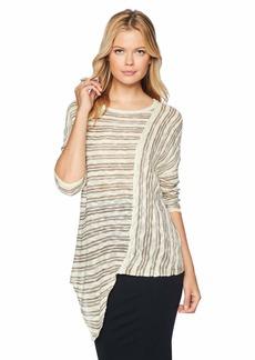 Democracy Women's Striped Asymmetrical Hem Sweater  XS