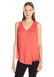 Democracy Women's Twofer Knit Tank with Crochet Hem Assymetrical Woven Top Layer
