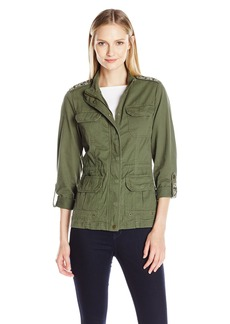 Democracy Women's Utility Jacket with Drawstring Waist and Embroidered Epilets and Sleeve Tabs