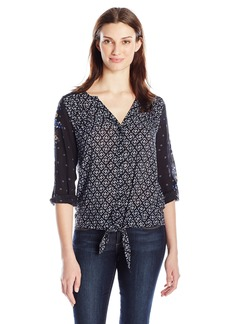 Democracy Women's V-Neck 3/4 Tab Sleeve Tie Front Blouse  XL