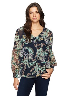 Democracy Women's V Neck Lantern Blouse  L