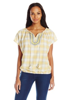 Democracy Women's Woven Short Sleeve Plaid Peasant with Banded Bottom
