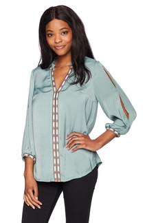 Democracy Women's Woven Top With Notch Neck and Embroidery Sage Brush S