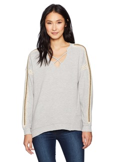 Democracy Women's X-Front Yarn Linked L/s Asymmetrical Hem Top  L