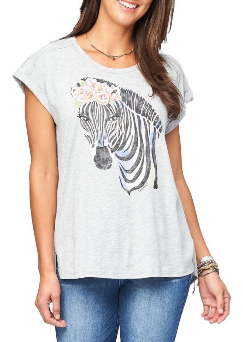 Democracy Zebra-Print Cap-Sleeve Tee