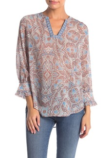 Democracy Embroidered Split Neck Blouse