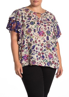 Democracy Floral Cascading Sleeve Blouse (Plus Size)