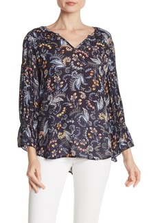 Democracy Floral Paisley 3/4 Sleeve High/Low Blouse
