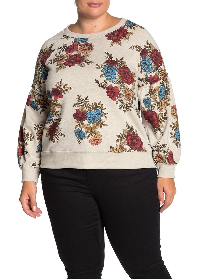 Democracy Floral Print Embellished Stud Sweatshirt