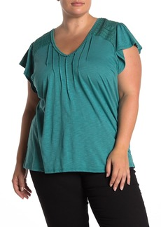 Democracy Flutter Sleeve Pintuck Pleated Top (Plus Size)