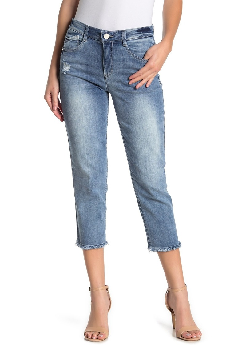 Democracy Frayed Slim Straight Cropped Jeans
