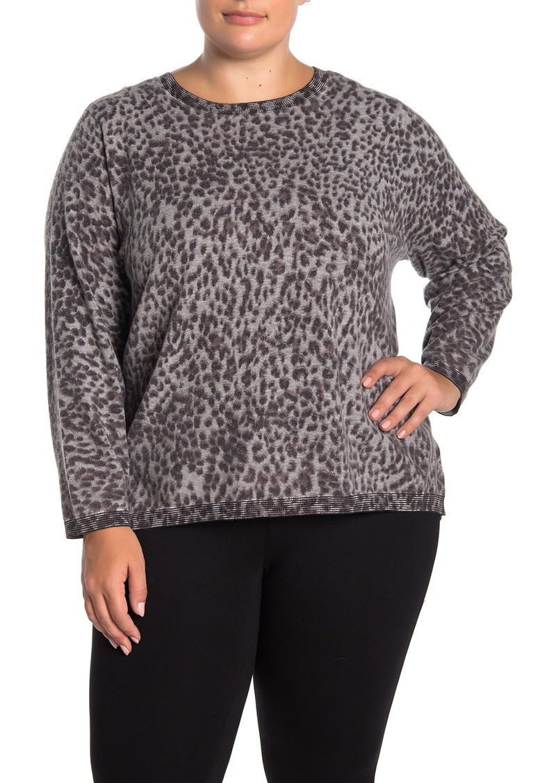Democracy Long Sleeve Back Button Leopard Sweater (Plus Size)