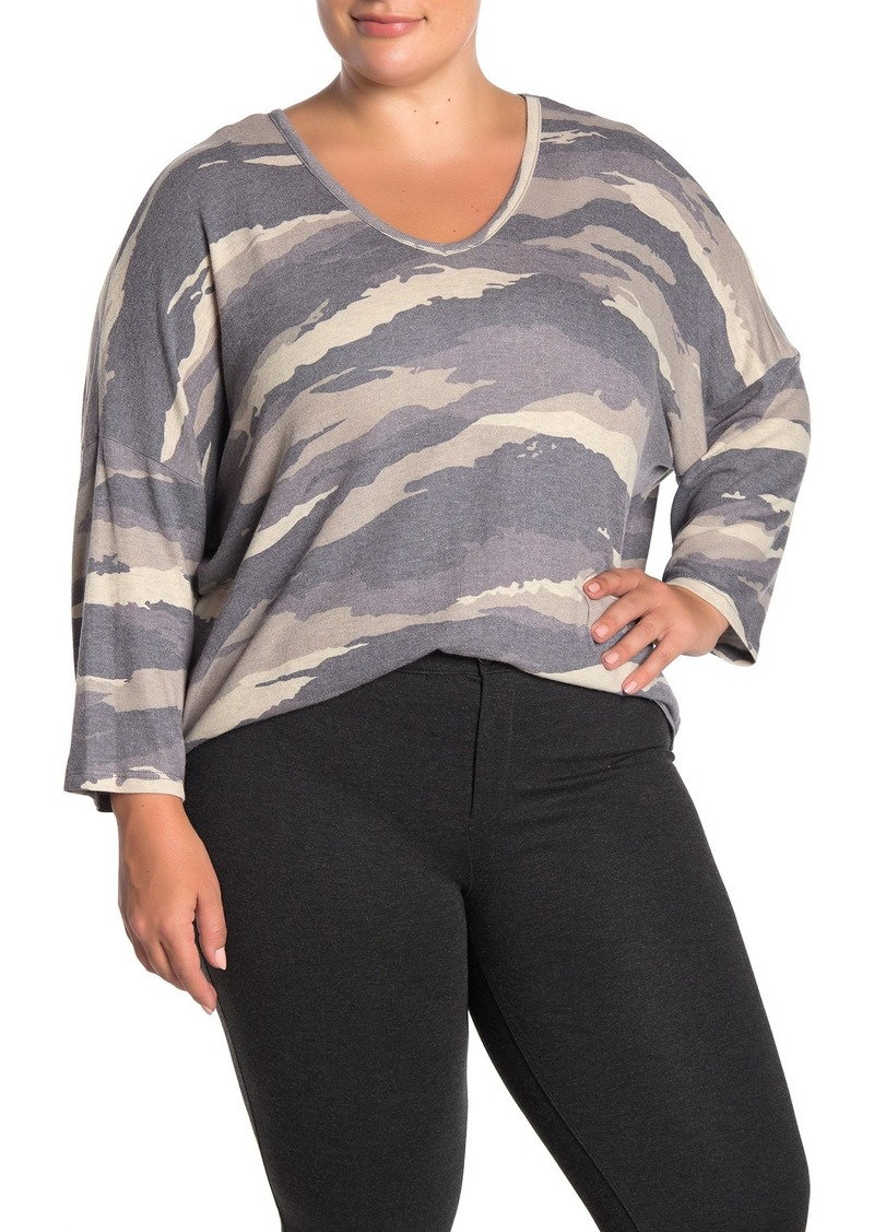 Democracy Long Sleeve V-Neck Camo Printed Sweater (Plus Size)