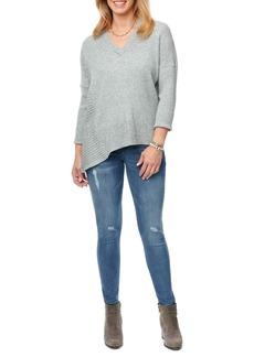 Democracy Mixed Knit Asymmetrical Hem Sweater