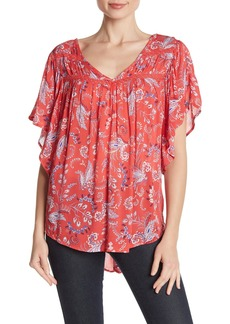 Democracy Paisley Flutter Sleeve Top