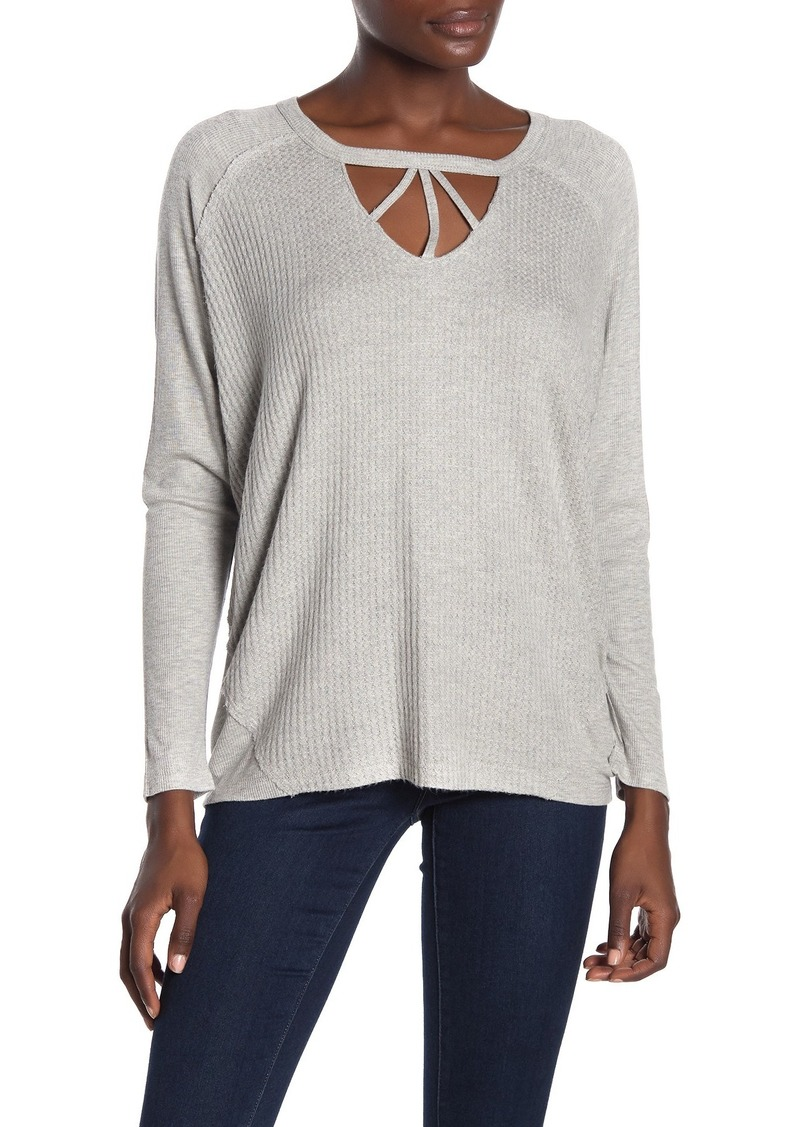 Democracy Raglan Sleeve Waffle Knit Top
