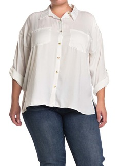 Democracy Roll Sleeve Button Front Tunic Shirt