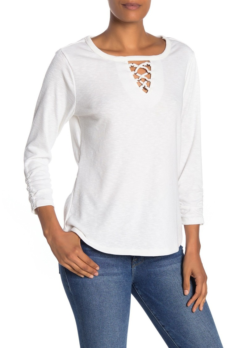 Democracy Ruched Sleeve Cutout Top