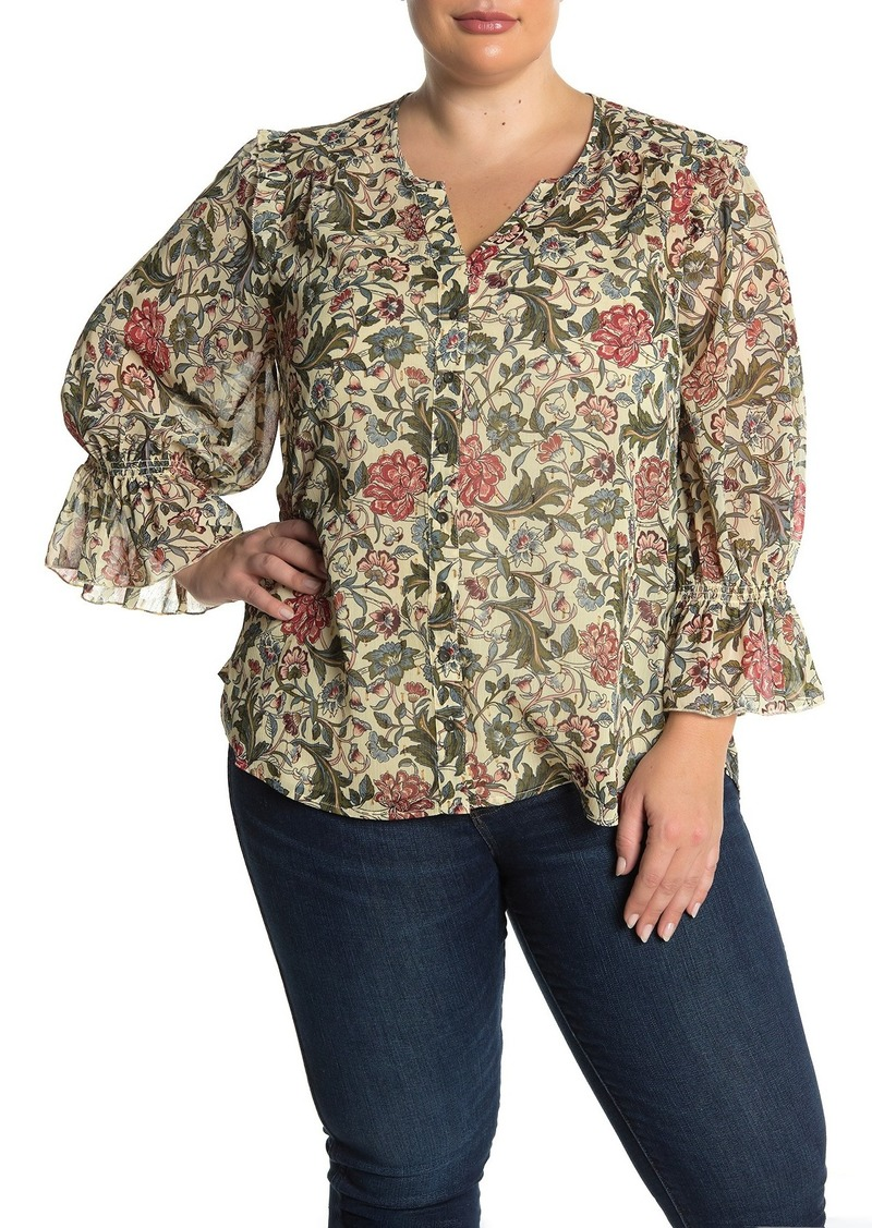 Democracy Ruffle Cuff Floral Blouse (Plus Size)