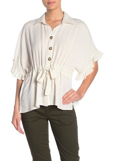 Democracy Ruffle Sleeve Button Front Blouse