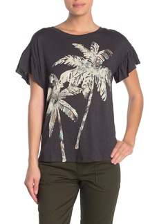 Democracy Ruffle Sleeve Sequins Palm Tree  T-Shirt