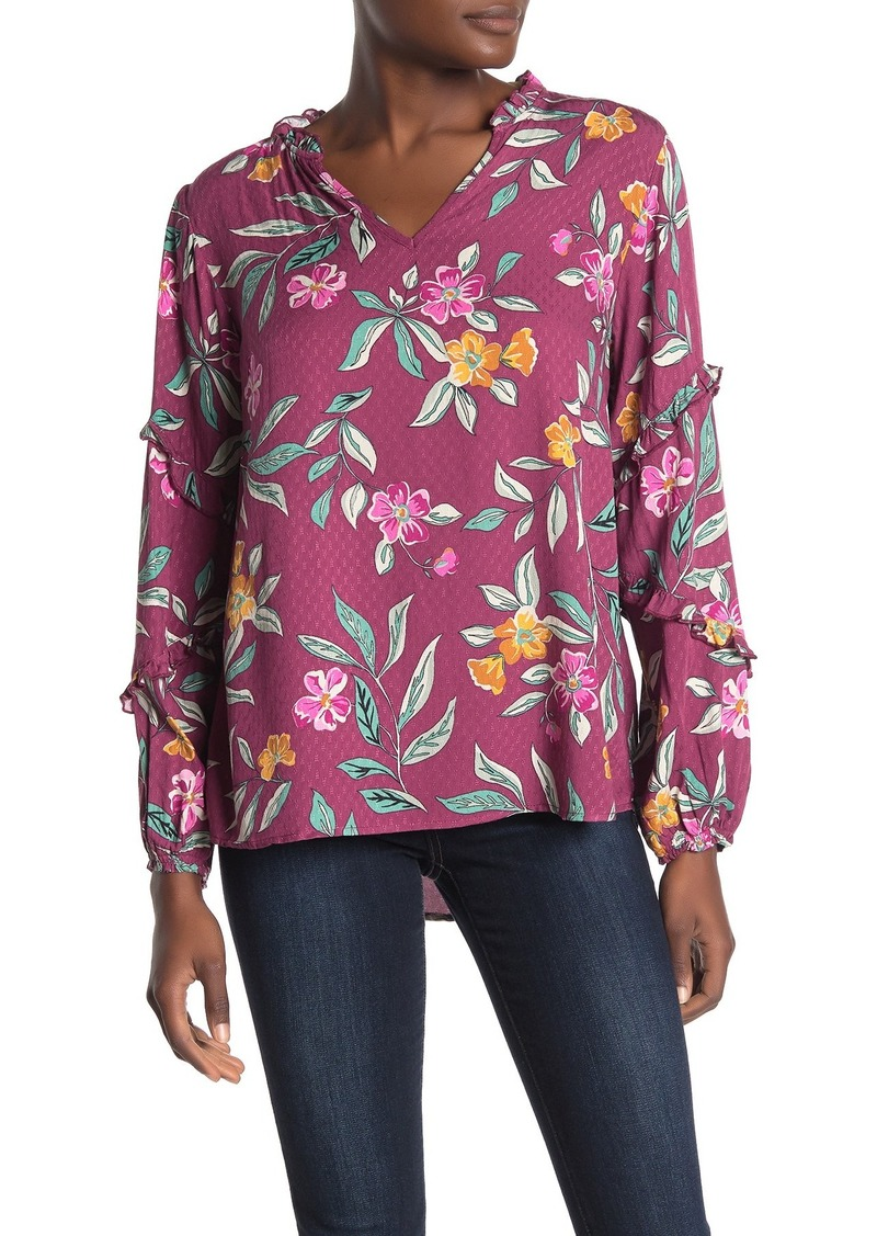 Democracy Ruffle Trim Long Sleeve Floral Print Blouse