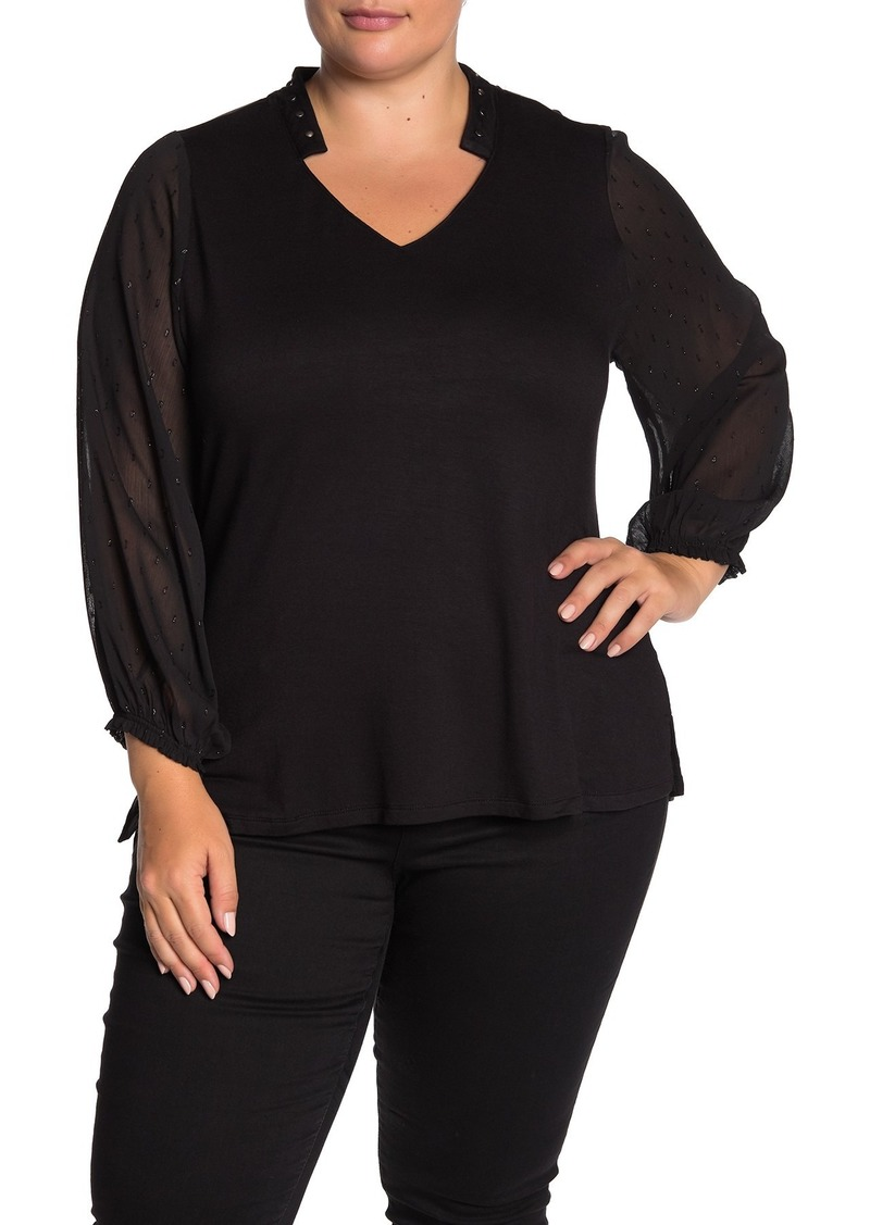 Democracy Sheer Long Sleeve Blouse (Plus Size)