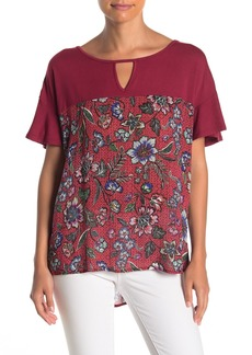 Democracy Short Ruffle Sleeve Floral Print Tunic