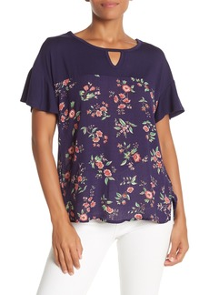Democracy Short Ruffle Sleeve Floral Top