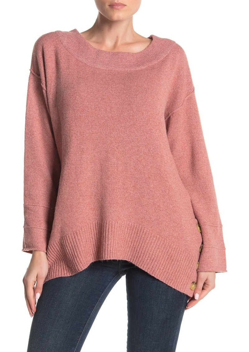Democracy Side Button Boatneck Sweater
