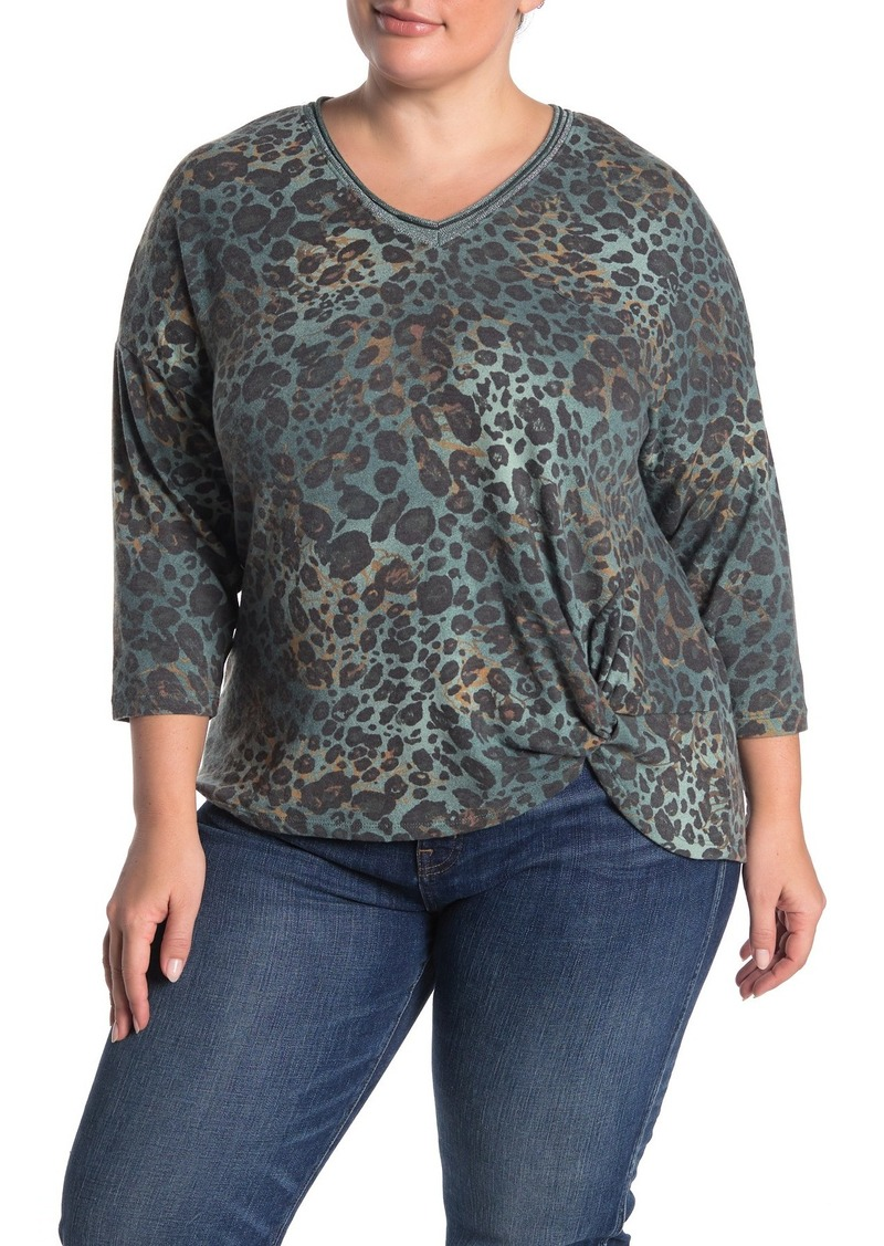 Democracy Side Knot Animal Print Top (Plus Size)