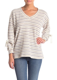 Democracy Striped Lace-Up Sweater