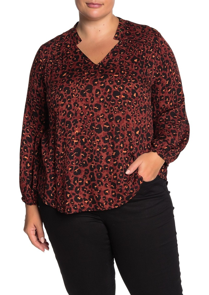 Democracy Stud Accent Animal Print Blouse