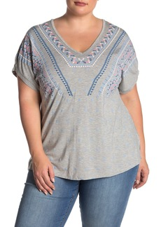 Democracy Surplice Back Embroidered Tee (Plus Size)