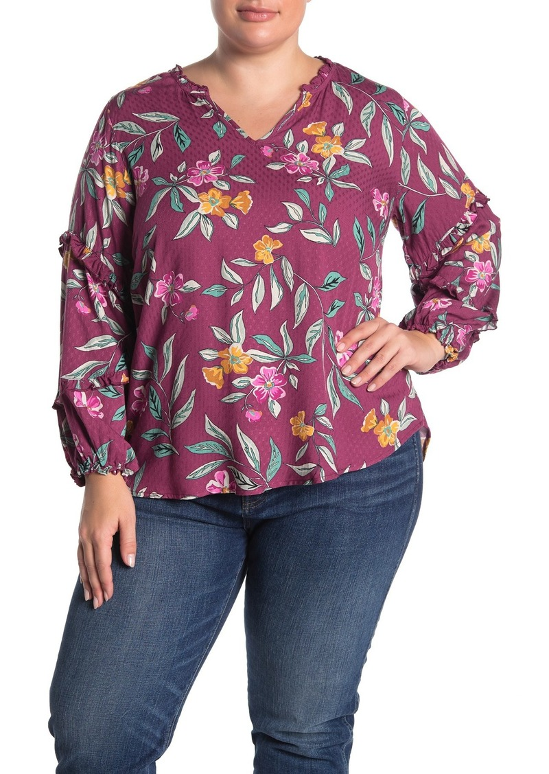 Democracy V-Neck Floral Blouse (Plus Size)