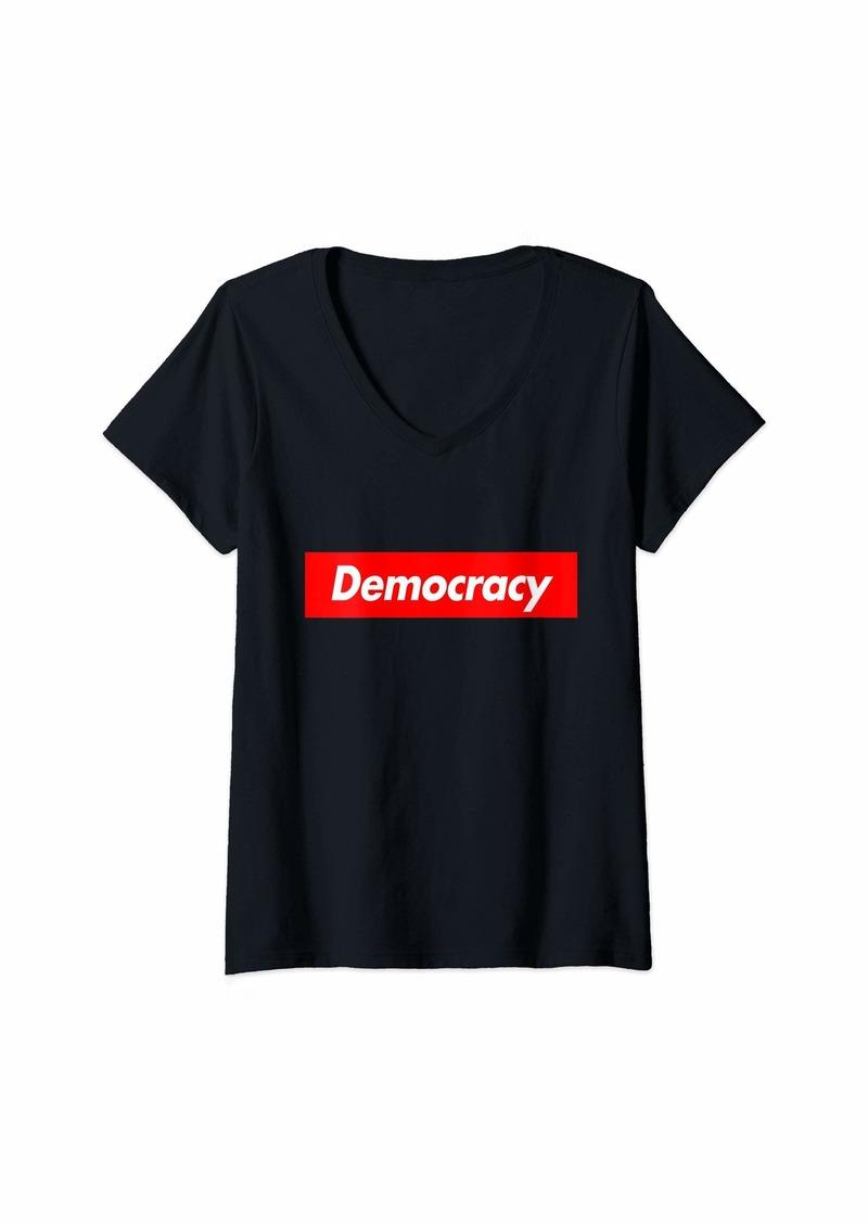 Womens Democracy - Red Box Parody Logo Meme Funny V-Neck T-Shirt