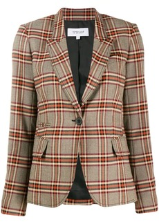Derek Lam 3-Button Plaid Twill Blazer with Zipper