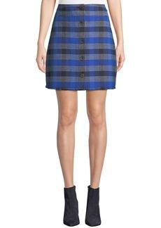 Derek Lam A-Line Button-Front Check Mini Skirt