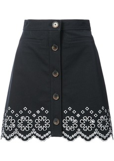 Derek Lam A-Line Mini Skirt With Eyelet Embroidery