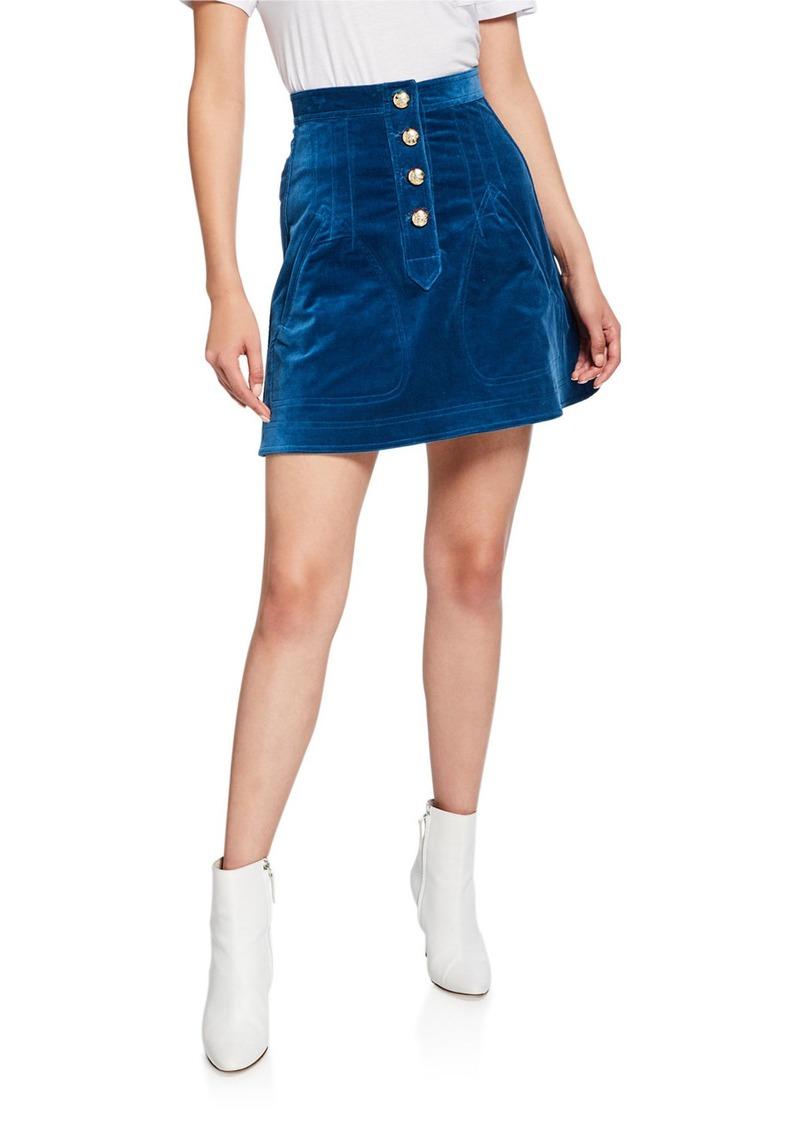 Derek Lam A-Line Mini Skirt with Snaps