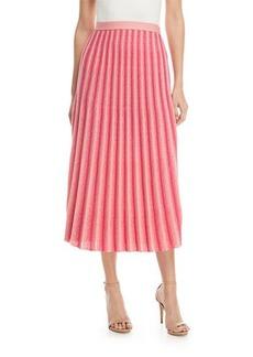 Derek Lam A-Line Pleated Striped Knit Midi Skirt