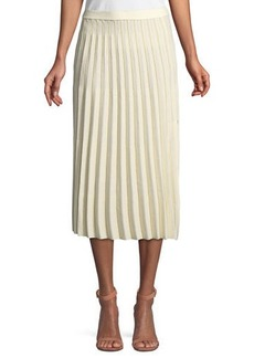 Derek Lam A-Line Pleated Striped Knit Midi Skirt