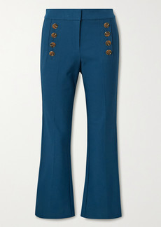 Derek Lam Adeline Cropped Button-embellished Stretch-cotton Flared Pants